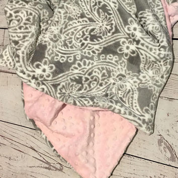 Personalized Baby Blanket,Handmade Baby,Baby Gift,Baby Bedding,Gray and White Damask,Monogrammed,Crib Bedding,Pink Minky Dot