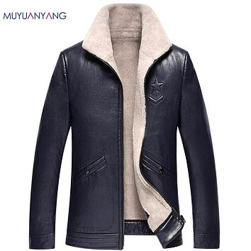 Men Faux Leather Jackets Casual Fur Clothing Men Coat Winter Thicken Warm Faux Fur Jacket Overcoat