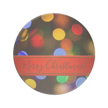 Multicolored Christmas lights. Add text or name. Coaster