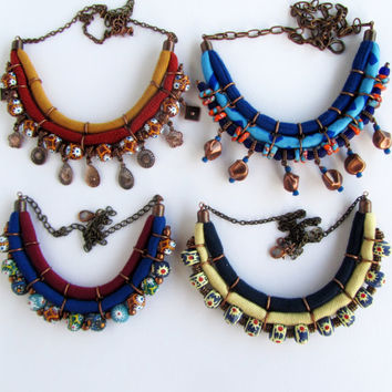 Navy blue necklace/ fall fashion jewelry/ trendy color