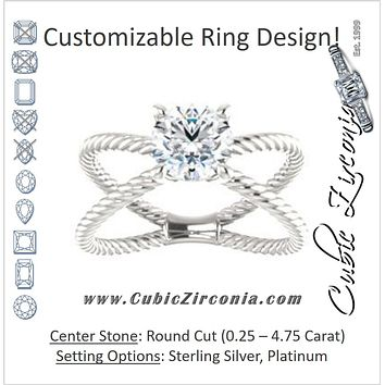 "Cubic Zirconia Engagement Ring- The Zaylee (Customizable Round Cut Solitaire with Wide Rope-Braiding ""X"" Split Band)"