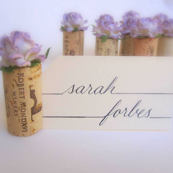 Lilac Wedding Place Card Holders, Set of 10, Includes Blank Name Cards, Calligraphy Referrals Available, Winery Vineyard Bridal Shower