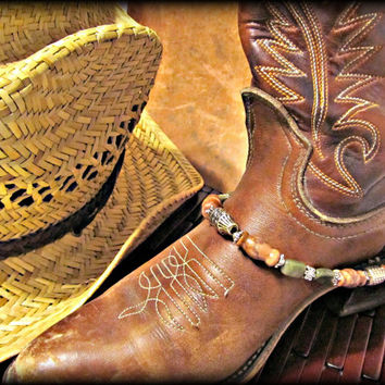 Spruce Up Your Boots! Beaded Boot Bracelet w Marble and Serpentine; Boot Jewelry, Western Wear