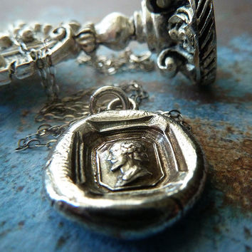 Shakespeare's Sonnet Wax Seal Necklace. Wax Seal Fine Silver Jewelry