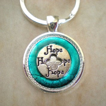 Hope Keychain: Blue - Circle of Hope - Affirmations Keychain - Yoga Keychain - Spring Colors - Meditation Keychain - New Age Keychain