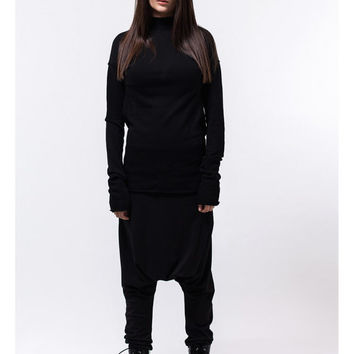 Black drop crotch pants / Black harem pants / black loose pants / black yoga pants / urban style pants / black sweatpants