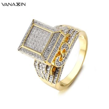VANAXIN Hip Hop Rings For Men Iced Out Bling Bling Rings AAA+ Cubic Zirconia Jewelry Gold/Silver Color Brass Jewelry Fine Gift