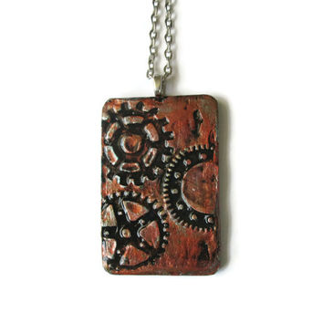Gears art pendant, 3d mixed media in copper faux finish, unisex steampunk jewelry, hand painted necklace, rustic industrial jewelry for men