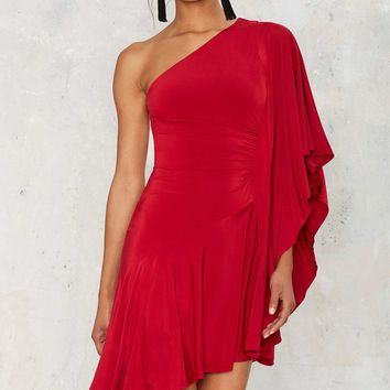 Nasty Gal Lonely Number Asymmetric Dress - Red