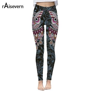 Raisevern Cute Owl Print 3D Leggings Women Fashion Streetwear Pants 3D Full Printing Fitness Clothing Strechy Trousers Dropship