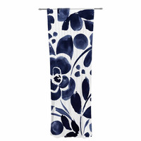 "Crystal Walen ""Watercolor Floral"" - Navy Painting Decorative Sheer Curtain"