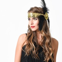 Gold Sequined Glitter Rose & Feather Flapper Headband