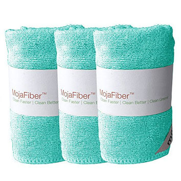 "Plush Microfiber Body/Face Cloth - Dual Action (exfoliate/cleanse): 3 Pk - 12""x12""- Soft Cleanse side and Exfoliating Reverse side - Remove Make Up, Dirt, Oil & Dead Skin Cells with Just Water, Blue"