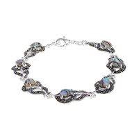Abalone & Marcasite Silver-Plated Peacock Feather Bracelet (Blue)