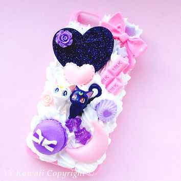 Custom Sailor Moon Luna and Artemis Kawaii Decoden Phone Case for Iphone 4/4s, 5/5s/5c, Samsung Galaxy S2, S3, S4 or Ipod Touch, HTC One X