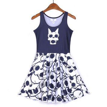 Women Skull 3D Print sleeveless Skater Pleated Dress