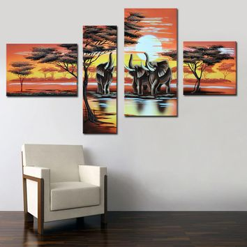Handmade Home Decor Canvas Oil Painting African Art Elephant Life Hand Painted Canvas Painting Modern Decorative Picture 4 Piece