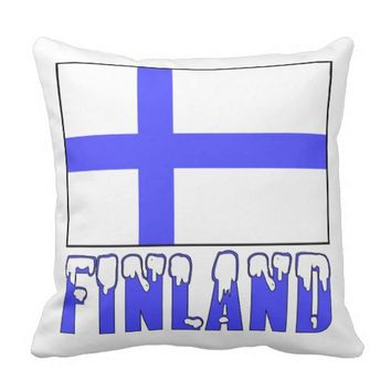 Finland Flag and Snow Capped Name Pillow