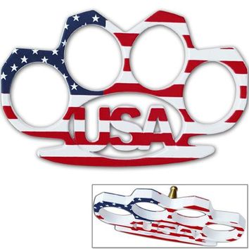 USA Heavy Duty Belt Buckle & Knuckle American Whoopin Flag Print Old Glory