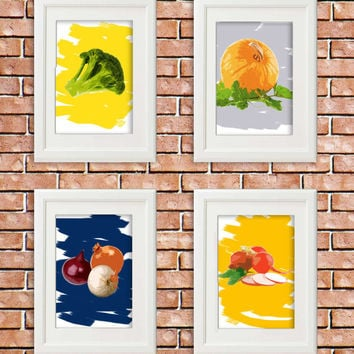 Vegetables art, Kitchen Set of 4 - 8X10 Inches, Kitchen Art Prints, Choose colors, Kitchen Wall Decor, Dining Room Decor, Food Art, Cooking