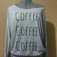 Coffee Graphic Off the Shoulder Women's Casual by RobynhoodInk