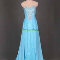 sky blue chiffon prom dresses with rhinestone / unique floor length gowns for evening party /stunning holiday dress cheap /homecoming gowns