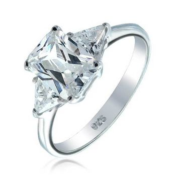 Cubic Zirconia Three Stone AAA CZ Trillion Emerald Cut Engagement Ring