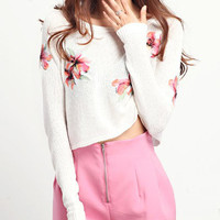 White Long Sleeve Embroidery Sheer Crop Sweater - Sheinside.com