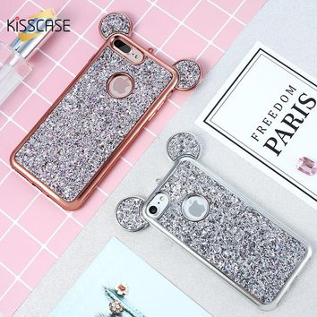 KISSCASE Phone Cases For iPhone 5 5s 6 6s 6 Plus 7 7 Plus Case Glitter Fashion 3D Mickey Mouse Soft Silicone Cover For iPhone