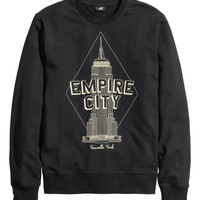 H&M - Sweatshirt with Printed Design - Black - Men
