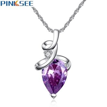 Delicate Big Crystal Zircon Love Heart Pendant Necklace Wedding Bridal Fashion Jewelry For Women Red Purple White Color