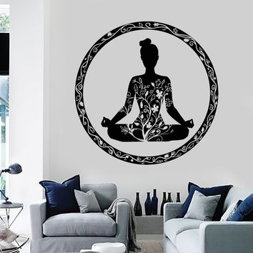Vinyl Wall Decal Yoga Meditation Room Circle Ornament Buddhism Stickers Unique Gift (ig3609)