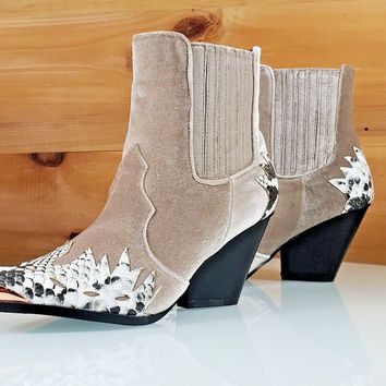 Cape Kelsey Nude Snake Pull On Cowboy Style Pointy Capped Toe Ankle Boot