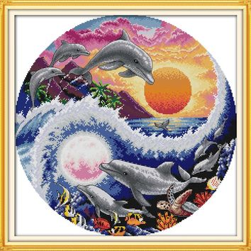 Sun, moon and dolphins DMC Animal cross stitch kit 14ct  white 11ct  printed embroidery DIY handmade needle work wall home decor