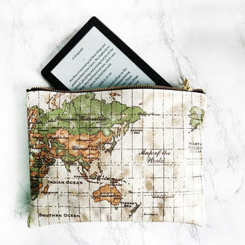 Worldmap Kindle Pouch, Waterproof make up bag, Vintage Map pencil case, Worldmap Large Purse,Australia Map Clutch bag, Kindle sleeve case