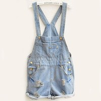 Women Fashion Clothing Sky Blue Overalls Pocket Jumpsuit