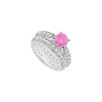 14K White Gold : Pink Sapphire and Diamond Engagement Ring with Wedding Band Set 1.20 CT TGW
