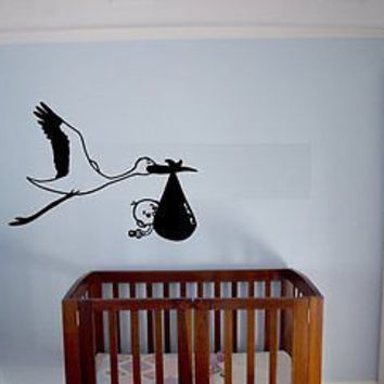 Stork Bringing Baby Baby Shower Decor Wall Art Sticker decal Ar316