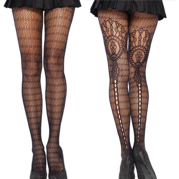 Black Lace Pantyhose Stockings Floral Pattern Cut Out High Waist Tights for Women