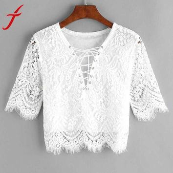 Sexy Lace White Blouse Women Fashion New V neck Hollow Out Tank Tops Short Sleeve Bandage Eyelet Lace Up blusa