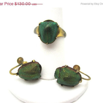 SALE Antique Art Deco Scarab Jewelry - Egyptian Revival - Real Beetles