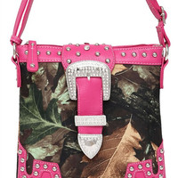 * Camouflage Print Rhinestones Buckle Deco Messenger Bag in Fuchsia M