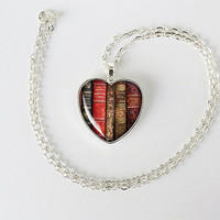 Books heart pendant Antique books necklace librarian gift bookworm jewelry teacher's gift reading addict birthday gift key ring cs152