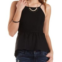 High-Low Peplum Halter Top by Charlotte Russe