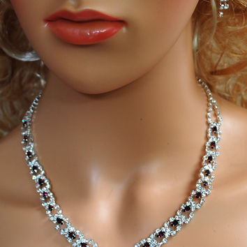 Bridal Wedding Prom Pageant Purple and White Crystal Necklace and Earring Set N1Z55