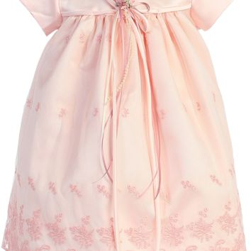 Pink Embroidered Lace Mesh Overlay Satin Occasion Dress (Baby Girls)