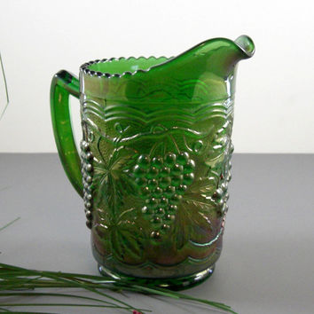 Carnival Glass Pitcher // Green // Imperial Grape Pattern // from Succsessionary