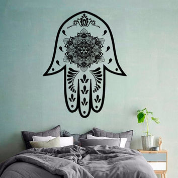 Wall Decals Fatima Hand Hamsa Indian Buddha Mandala Floral Design Yoga Gym Home Vinyl Decal Sticker Kids Nursery Baby Room Decor kk400