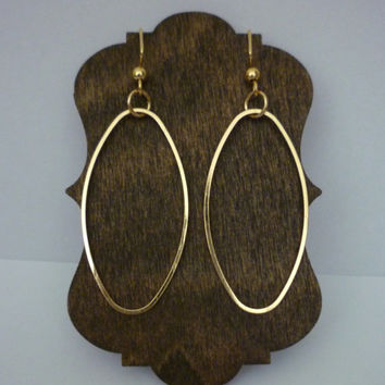 Hoop Oval Earrings, Gold Earrings, Oval Jewelry, Gold Jewelry, Gold Dangle Earrings