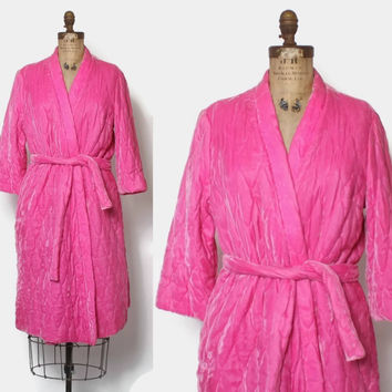 Vintage 60s VELVET Robe / 1960s Neon Shocking Pink Quilted Short Dressing Gown
